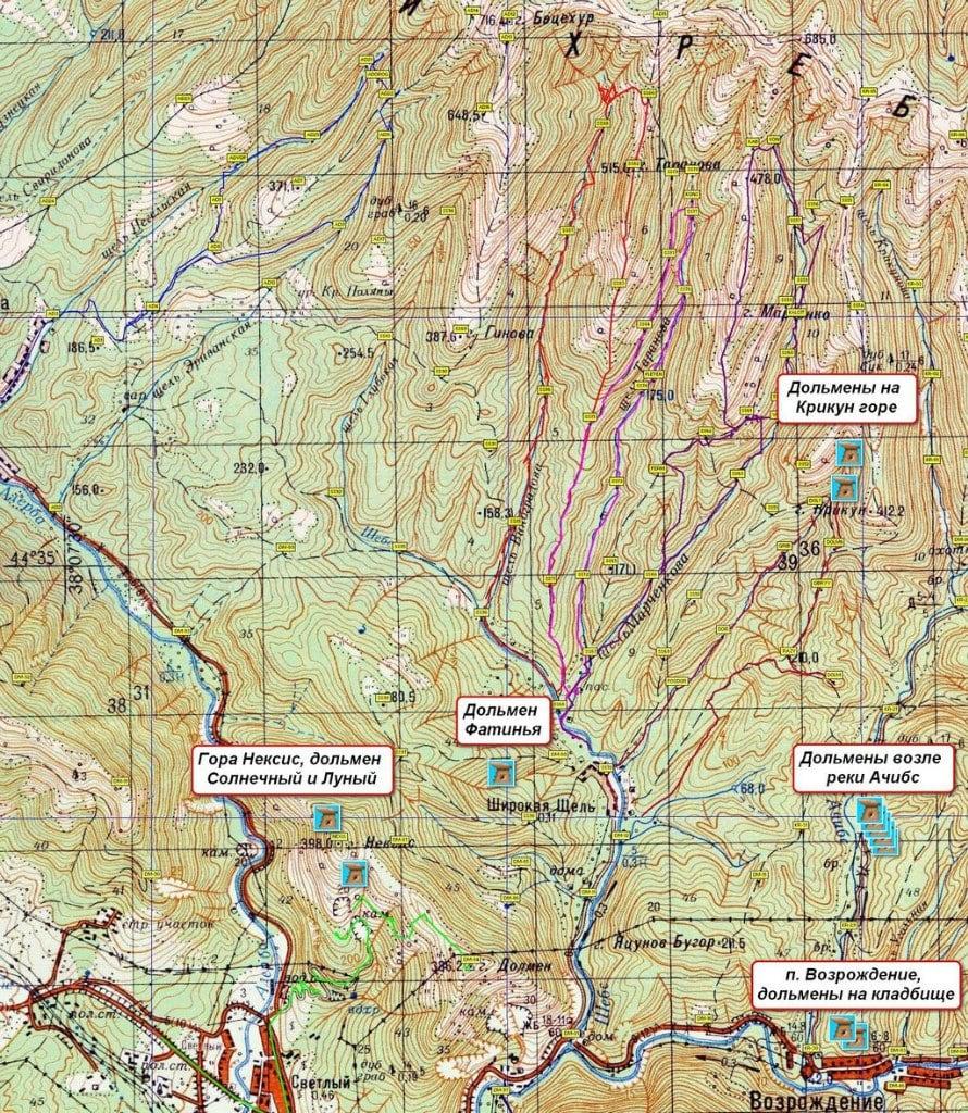 Дольмены Геленджика и карта дольменов
