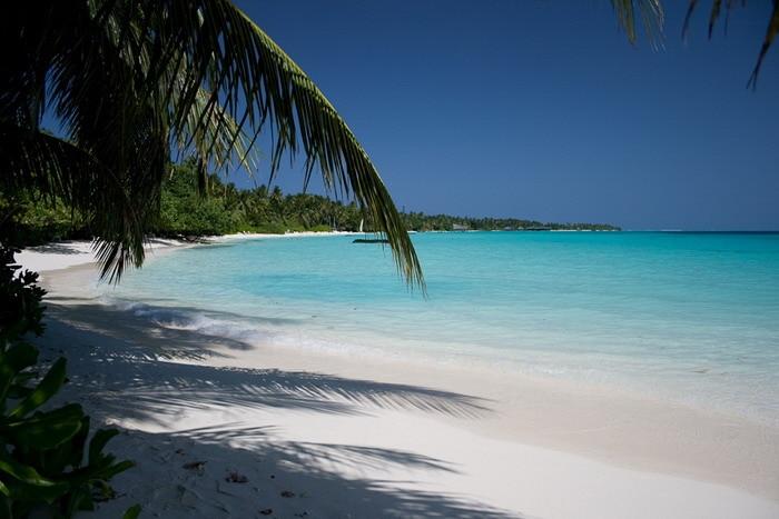 Белый песок. Мальдивы.