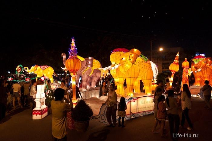 Светящиеся фигуры по всему Чиангмаю