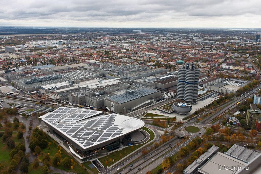 Вид с олимпийской башни. Современный Мюнхен.
