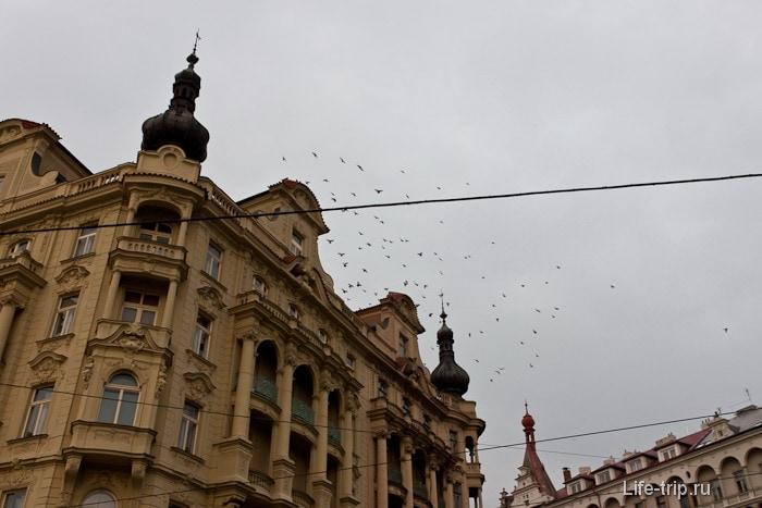 В Праге много много крыш с такими маленькими башенками
