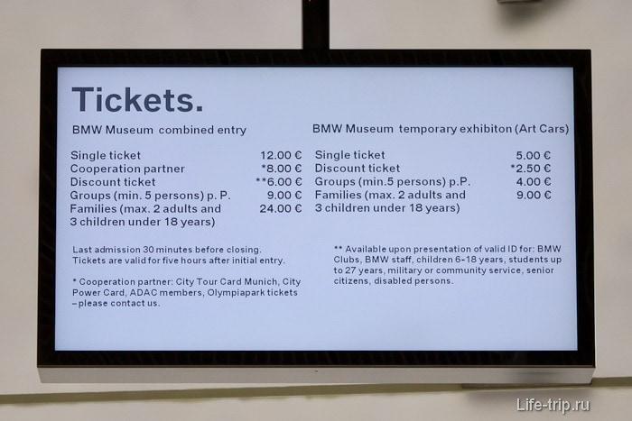 Стоимость посещения музея БМВ