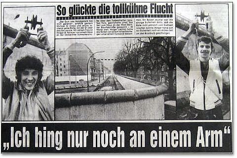 Два брата, перебравшиеся через Берлинскую стену по тросу
