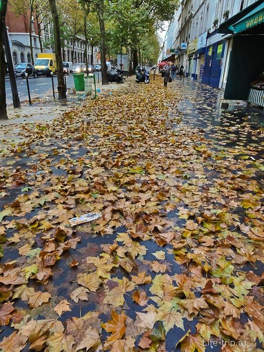 Улицы Парижа завалены листьями