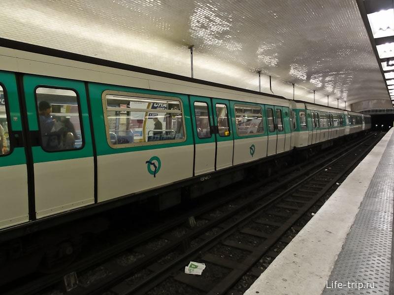 Метро Парижа - вагоны с резиновыми колесами
