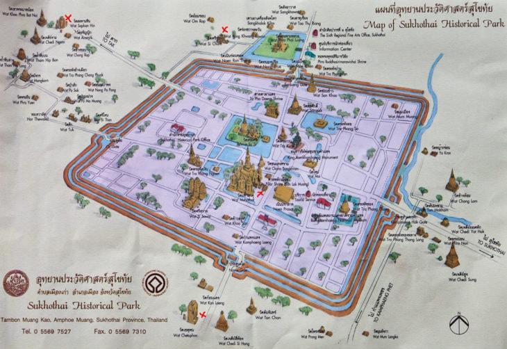 Карта исторического парка Сукхотай