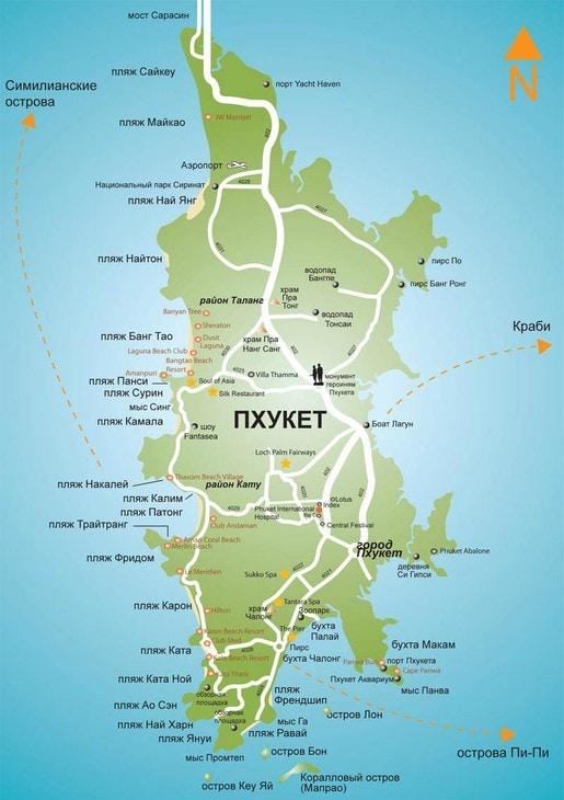 Карта Пхукета с пляжами на русском