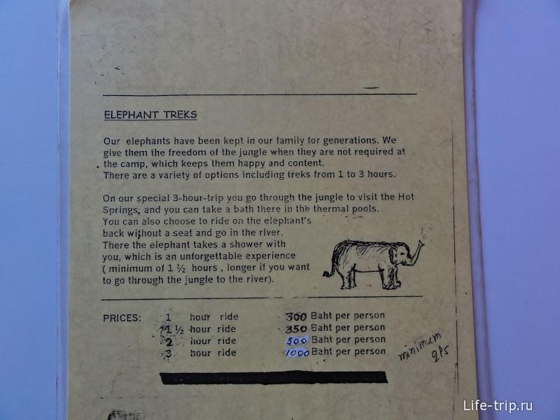 Расценки на катание в одном из турагентств