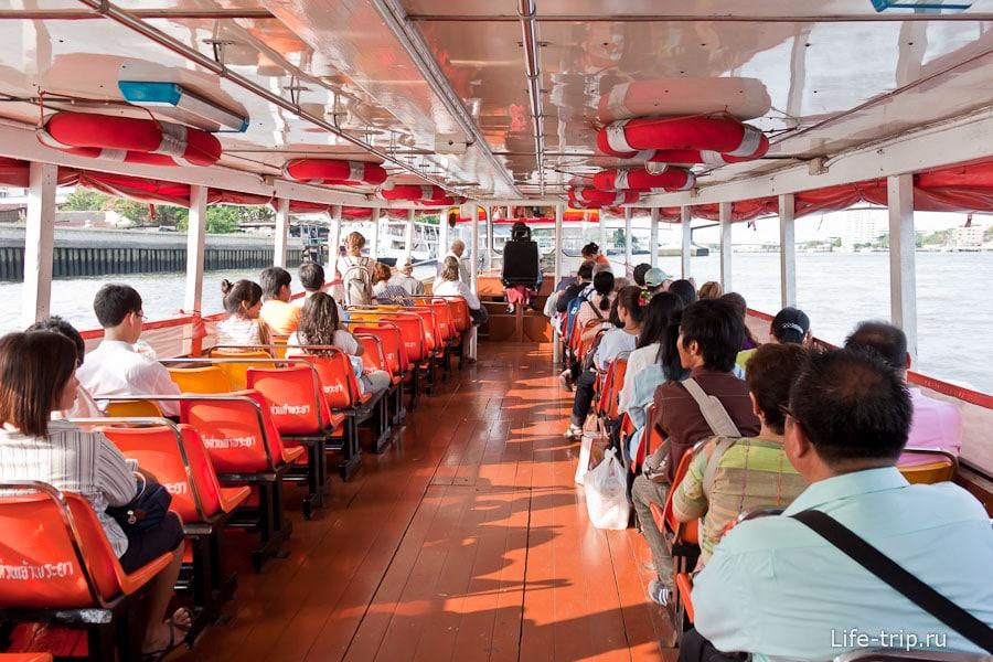 Внутри речного трамвая