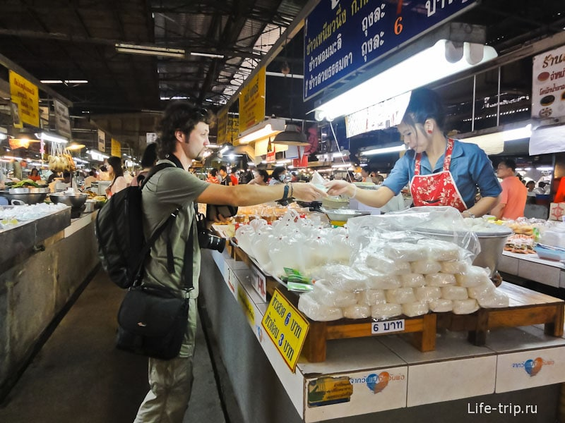 Покупаю готовый рис на рынке