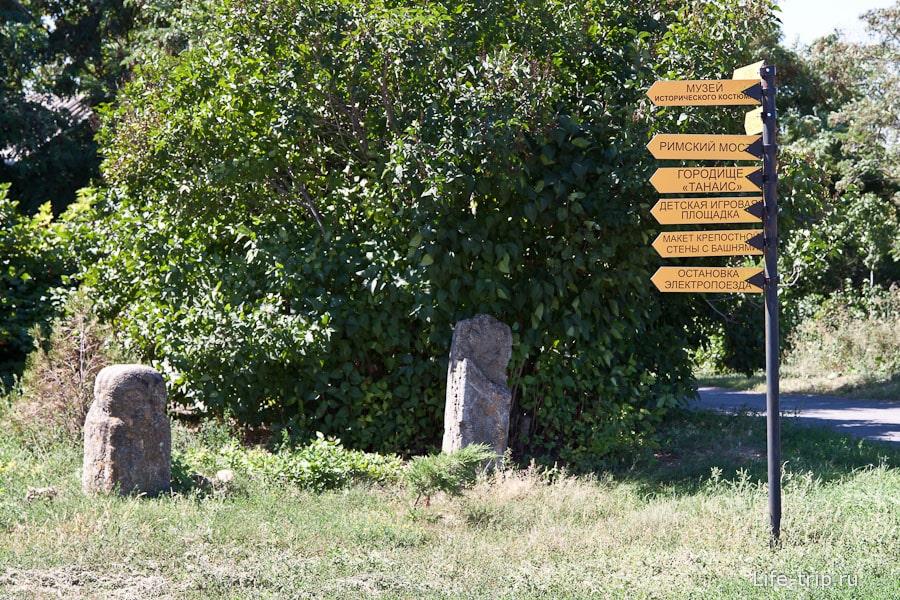 Указатели на территории археологического заповедника