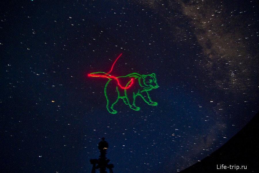 В планетарии созвездия нам показывали лазерной указкой
