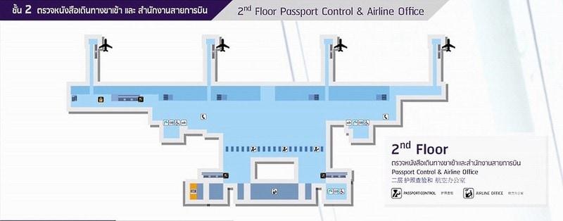 Второй этаж — паспортный контроль и офисы авиакомпаний