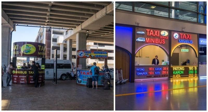 Стойка с минибасами и такси, международный терминал