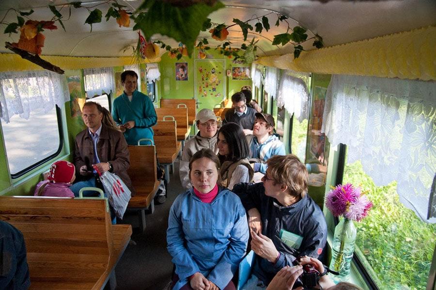 В вагоне Минской детской желеной дороги имени Заслонова
