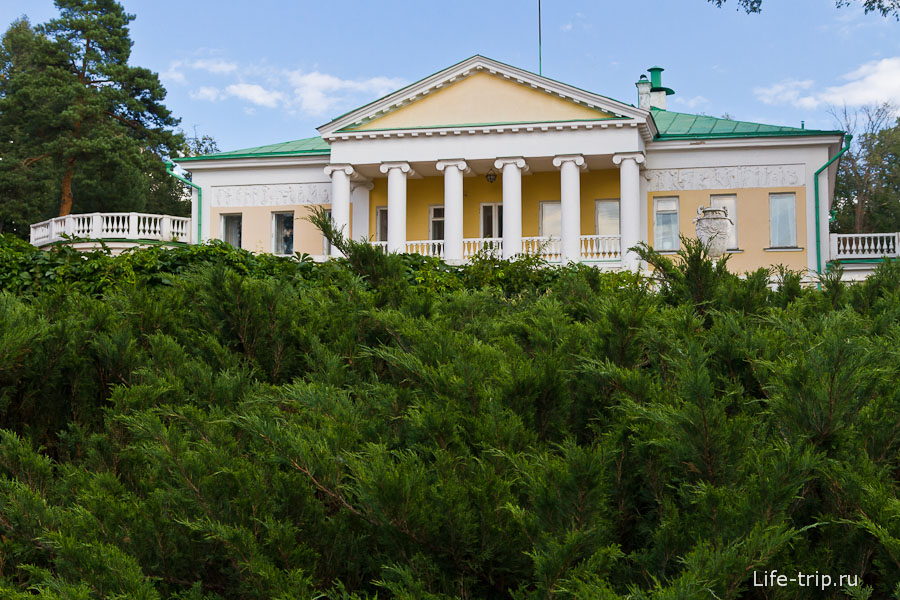 Вид на главный дом из-за зарослей можжевельника