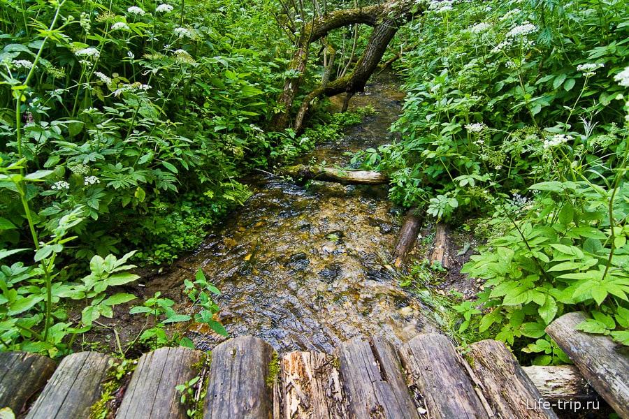 Часто встречаются деревянные мостики через ручейки