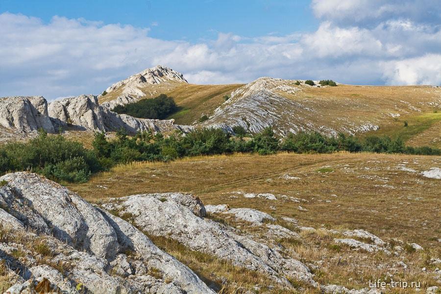Скалы торчат, как два хребта дохлых динозавров