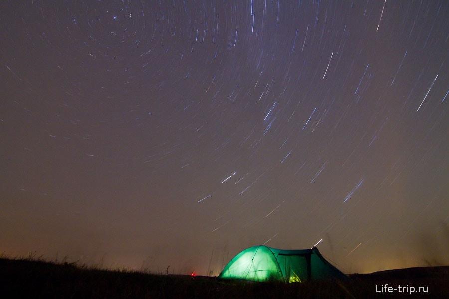 В центре вращения - Полярная звезда. ISO400, 11mm, f7.1, 1793sec