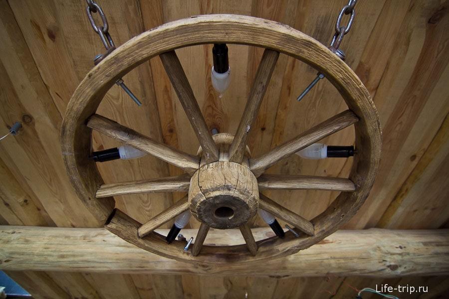 Люстры в виде колеса от телеги