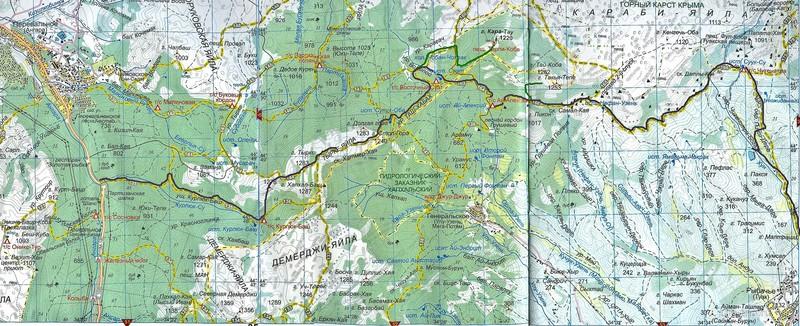 Карта туристического маршрута Курлук Су - Тырке - Караби - Рыбачье