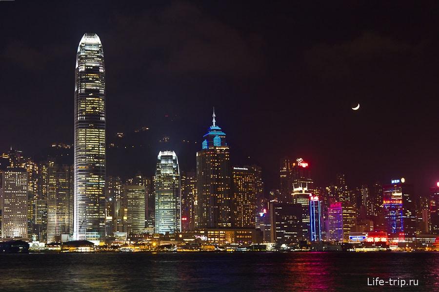 Ночный Гонконг - вид на остров Гонконг