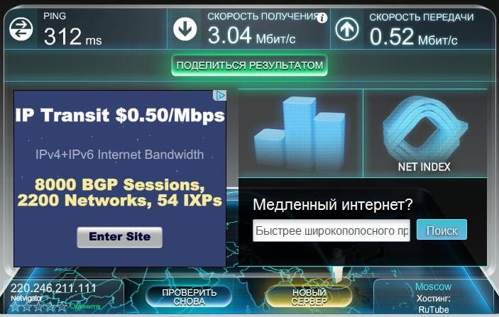 Скорость wifi в отеле Гонконга Sky Dragon House