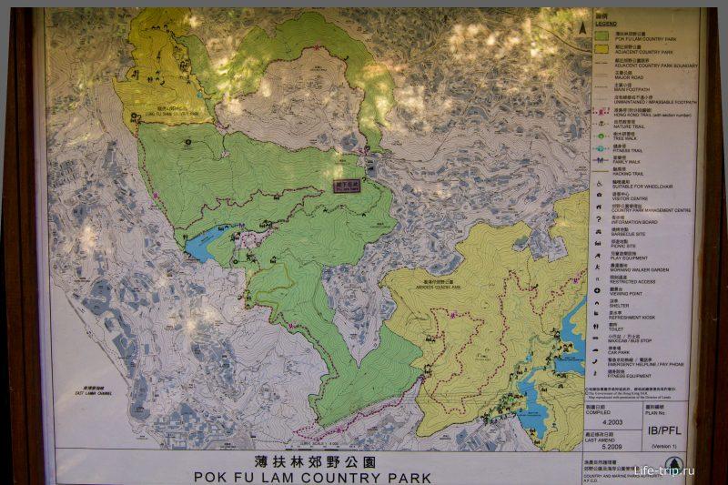 Карта маршрутов на острове Гонконг рядом с пиком Виктории (по клику большой файл)