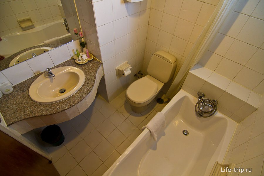 Полноценный санузел с ванной и горячей водой