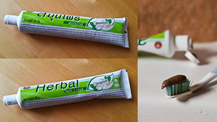 Коричневая зубная паста на травах