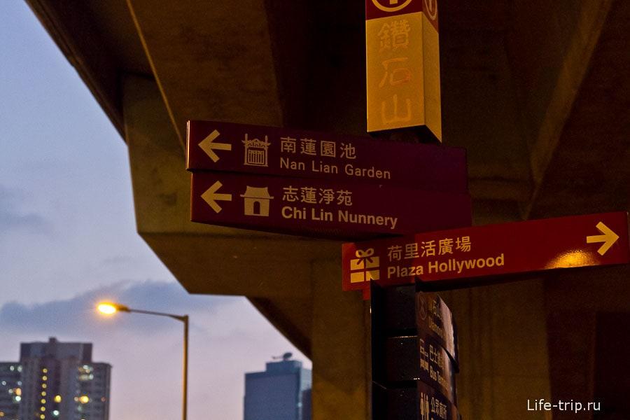 Указатели недалеко от метро