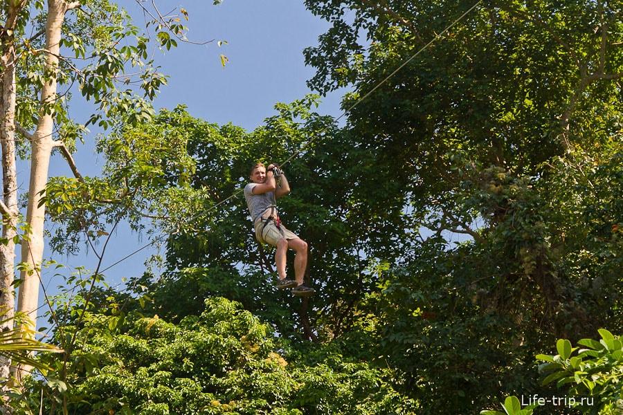 Летаем по зиплайнам между верхушками деревьев