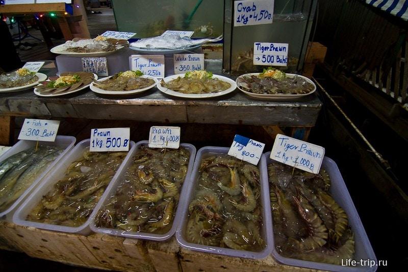 Цены на морепродукты в кафе