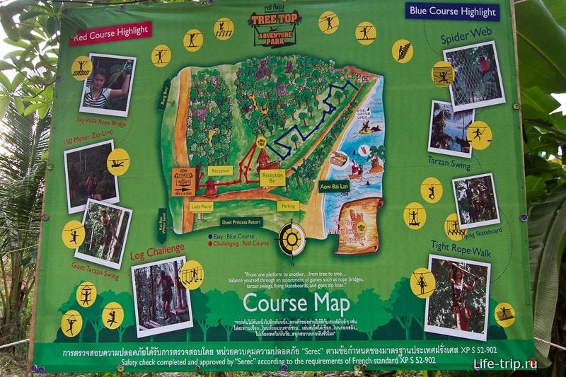 Упрощеная карта Tree Top Adventure Park
