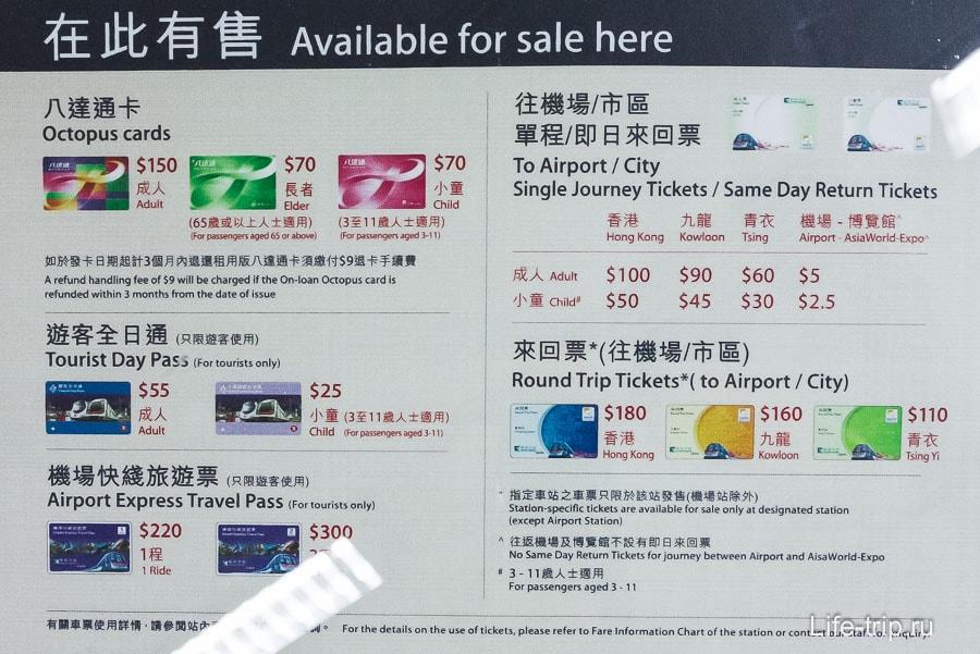 Цена на карту Октопус и другие билеты на метро
