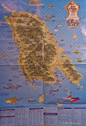 Карта Ко Чанга с достопримечательностями и подписями