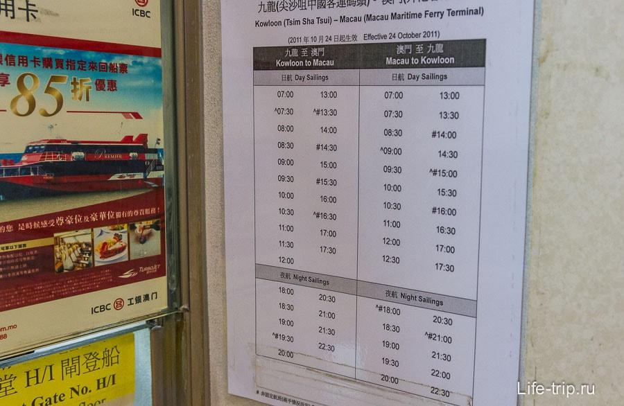 Расписание парома Гонконг - Макао