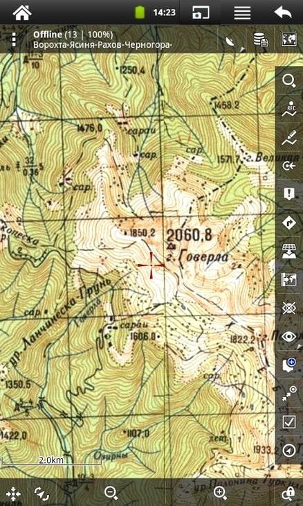 Растровая топографическая карта Карпат в программе Locus Map