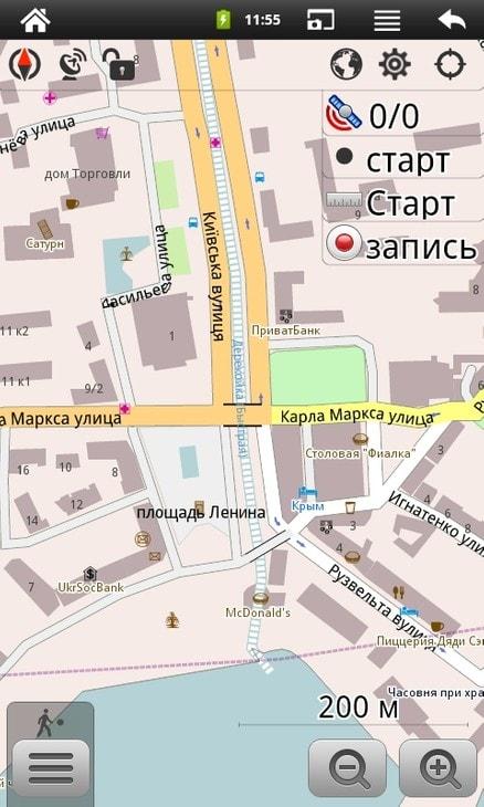 Векторная карта Ялты в программе OsmAnd