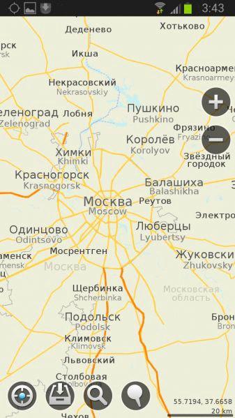 Программа MapsWithMe. Векторная карта Московской области