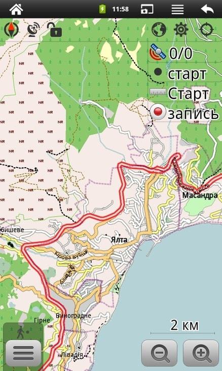 Программа OsmAnd. Векторная карта