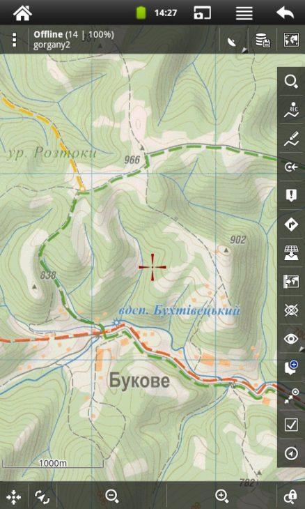 Программа Locus Map. Растровая туристическая карта Карпат