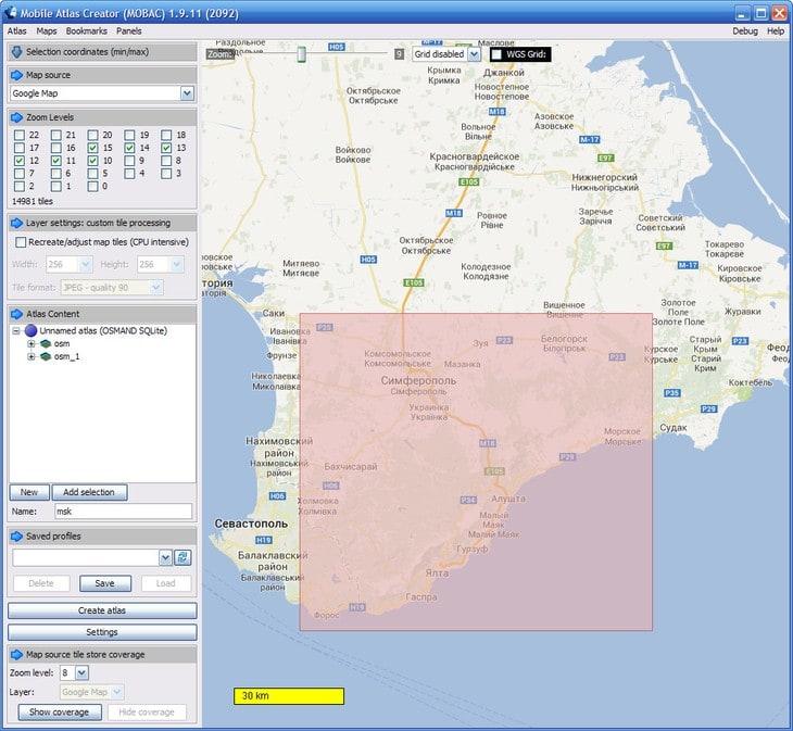 Интерфейс программы Mobile Atlas Creator