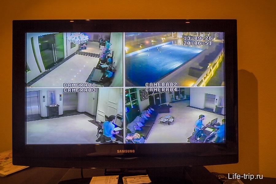 По телеку можно увидеть, есть ли кто в бассейне