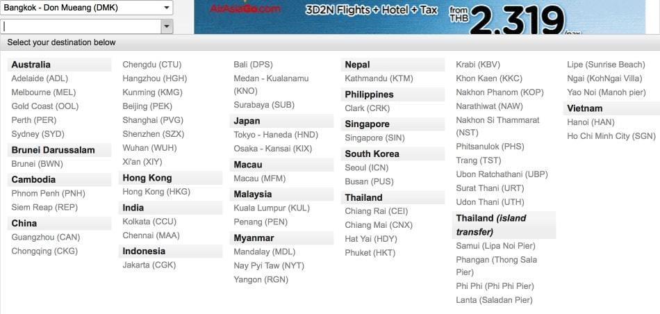 Куда летает AirAsia