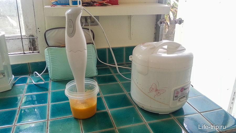 Рубленное блендером манго