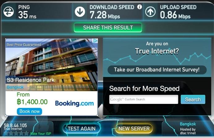 Скорость интернета в отеле S3 Residence Park