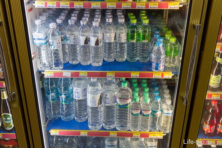 Обычная вода, рядом холодильник с пивом