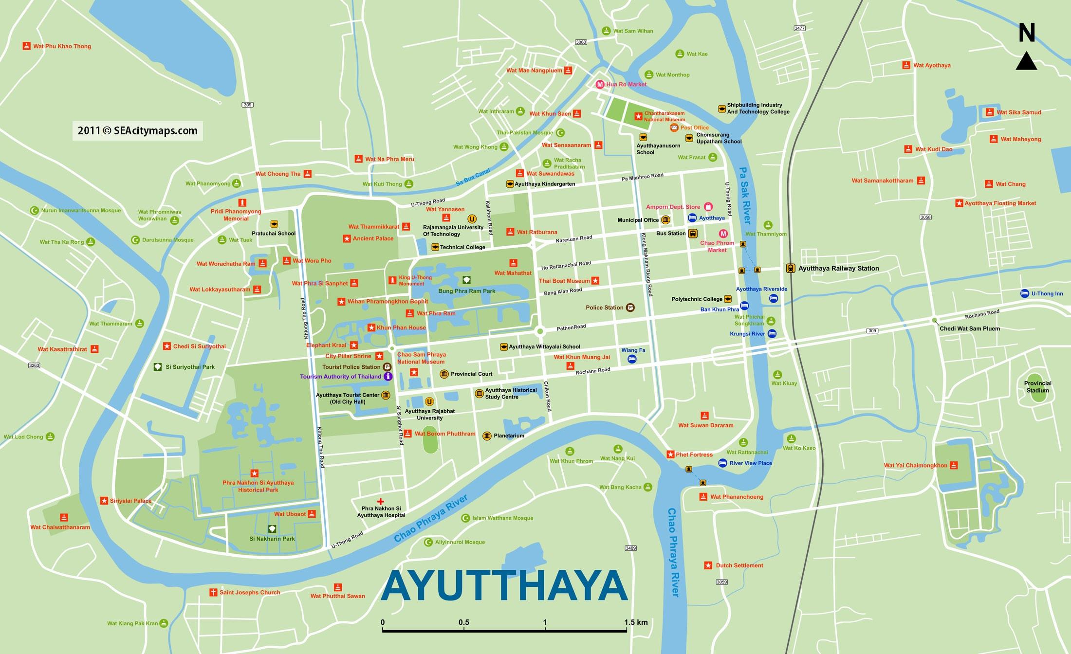 Карта Аютайи со всеми храмами (по клику большая)