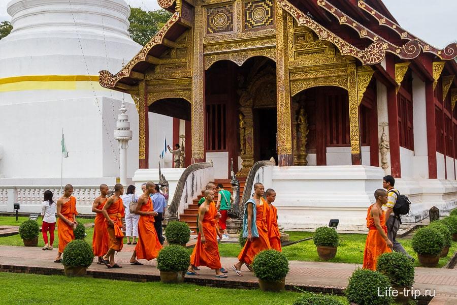 На территории Wat Phra Singh много монахов